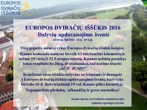 Kvietimas Europos dviračių iššūkis 2016