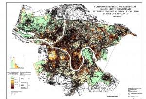 Suminio uzterstumo sunkiaisiais metalais pasiskirstimas  dirvozemyje žemėlapis