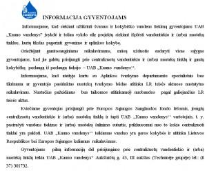 Kauno vandenu isformacija gyventojams