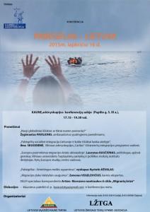 Konferencija PABĖGĖLIAI ir LIETUVA 2015 11 16 d,17.15_19.30v.Kaune Plakatas_spalvotas